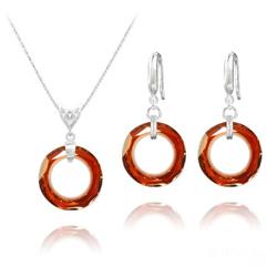Parure en Cristal et Argent Parure Cosmic Ring 20MM en Argent et Cristal Red Magma