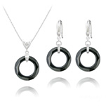 Wholesale Cosmic Ring 20MM Silver Jewelry Set with Swarovski Crystal - Jet