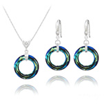 Wholesale Cosmic Ring 20MM Silver Jewelry Set with Swarovski Crystal - Bermuda Blue