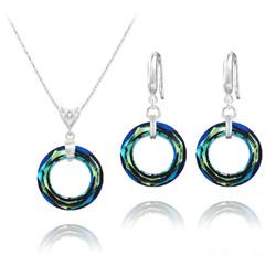 Parure Cosmic Ring 20MM en Argent et Cristal Bleu Bermude