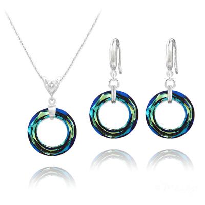 Parure en Cristal et Argent Parure Cosmic Ring 20MM en Argent et Cristal Bleu Bermude