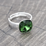 Wholesale Cushion Cut 10mm Silver Ring with Swarovski Crystal - Dark Moss Green