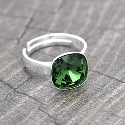 Bague Cushion Cut 10MM en Argent et Cristal Dark Moss Green