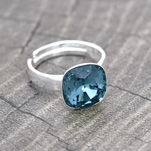 Wholesale Cushion Cut 10mm Silver Ring with Swarovski Crystal - Indicolite