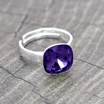 Wholesale Cushion Cut 10mm Silver Ring with Swarovski Crystal - Purple Velvet