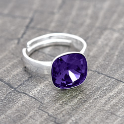 Bague Cushion Cut 10MM en Argent et Cristal Purple Velvet