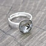 Wholesale Cushion Cut 10mm Silver Ring with Swarovski Crystal - Black Diamond