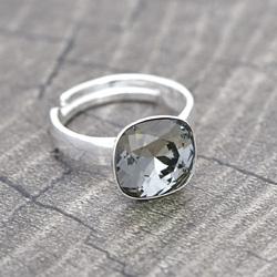 Bague Cushion Cut 10MM en Argent et Cristal Black Diamond