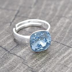 Bague en Cristal et Argent Bague Cushion Cut 10MM en Argent et Cristal Bleu