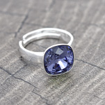 Wholesale Cushion Cut 10mm Silver Ring with Swarovski Crystal - Tanzanite