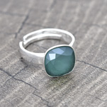 Wholesale Cushion Cut 10mm Silver Ring with Swarovski Crystal - Royal Green