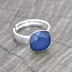 Bague Cushion Cut 10MM en Argent et Cristal Royal Blue