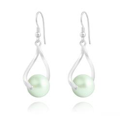 Boucles d'Oreilles Curvy en Argent et Perle de Cristal Nacré 10MM Pastel Green