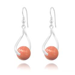 Boucles d'Oreilles Curvy en Argent et Perle de Cristal Nacré 10MM Coral