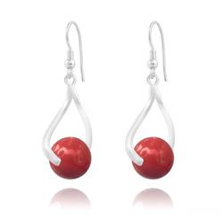 Boucles d'Oreilles Curvy en Argent et Perle de Cristal Nacré 10MM Red Coral