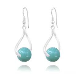 Boucles d'Oreilles Curvy en Argent et Perle de Cristal Nacré 10MM Jade