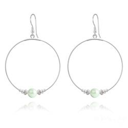 Créoles 50mm en Argent et Perle de Cristal Nacré 8mm Pastel Green
