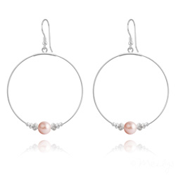 Créoles 50mm en Argent et Perle de Cristal Nacré 8mm Rose Peach