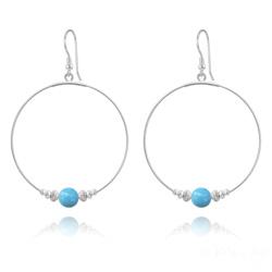 Créoles 50mm en Argent et Perle de Cristal Nacré 8mm Turquoise
