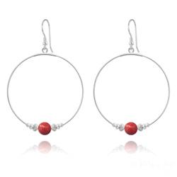 Créoles 50mm en Argent et Perle de Cristal Nacré 8mm Red Coral