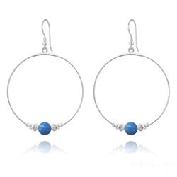 Créoles 50mm en Argent et Perle de Cristal Nacré 8mm Lapis