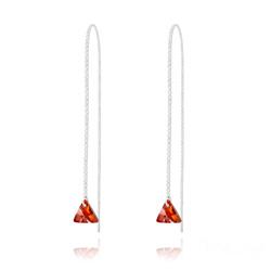 Chaînes d'Oreilles Triangle 8MM en Argent et Cristal Red Magma