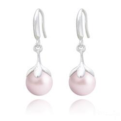 Boucles d'Oreilles en Argent et Perle 10mm de Cristal Nacré Pastel Rose