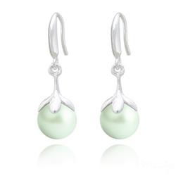 Boucles d'Oreilles en Argent et Perle 10mm de Cristal Nacré Pastel Green