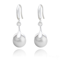 Boucles d'Oreilles en Argent et Perle 10mm de Cristal Nacré Pastel Grey