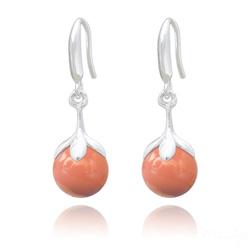 Boucles d'Oreilles en Argent et Perle 10mm de Cristal Nacré Coral
