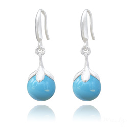 Boucles d'Oreilles en Argent et Perle 10mm de Cristal Nacré Turquoise