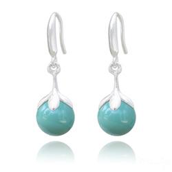 Boucles d'Oreilles en Argent et Perle 10mm de Cristal Nacré Jade