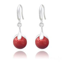 Boucles d'Oreilles en Argent et Perle 10mm de Cristal Nacré Red Coral