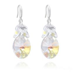 Boucles d'Oreilles Xilion Ovale en Argent et Cristal Aurore Boréale