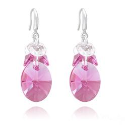 Boucles d'Oreilles Xilion Ovale en Argent et Cristal Rose