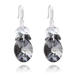 Boucles d'Oreilles Xilion Ovale en Argent et Cristal Silver Night