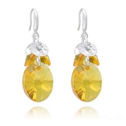 Boucles d'Oreilles Xilion Ovale en Argent et Cristal Tangerine