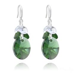 Boucles d'Oreilles Xilion Ovale en Argent et Cristal Dark Moss Green