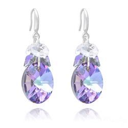 Boucles d'Oreilles Xilion Ovale en Argent et Cristal Vitrail Light