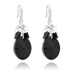 Boucles d'Oreilles Xilion Ovale en Argent et Cristal Jet (Noir)