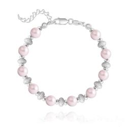 Bracelet en Argent et Perle de Cristal Nacré 6MM - Pastel Rose