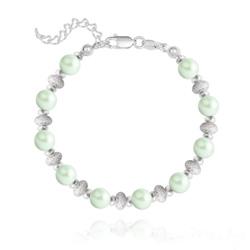 Bracelet en Argent et Perle de Cristal Nacré 6MM - Pastel Green