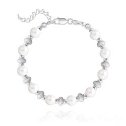 Bracelet en Argent et Perle de Cristal Nacré 6MM - Ivory