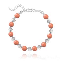 Bracelet en Argent et Perle de Cristal Nacré 6MM - Coral