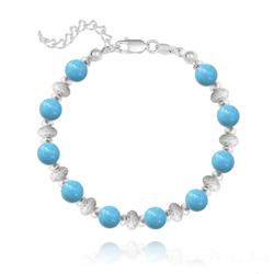 Bracelet en Argent et Perle de Cristal Nacré 6MM - Turquoise