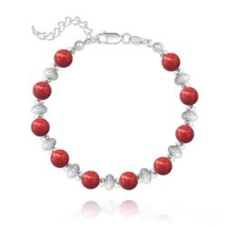 Bracelet en Argent et Perle de Cristal Nacré 6MM - Red Coral