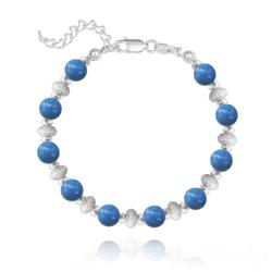 Bracelet en Argent et Perle de Cristal Nacré 6MM - Lapis