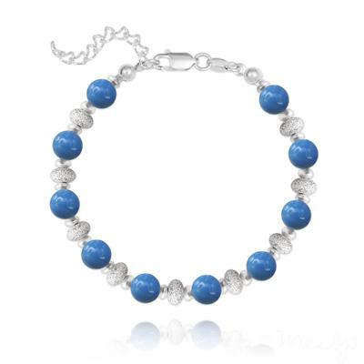 Bracelet en Cristal et Argent Bracelet en Argent et Perle de Cristal Nacré 6MM - Lapis