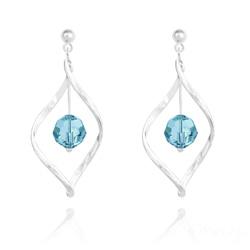 Boucles d'Oreilles Torsade en Argent et Cristal 8MM Bleu