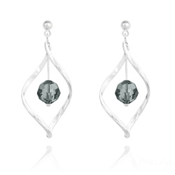 Boucles d'Oreilles Torsade en Argent et Cristal 8MM Black Diamond